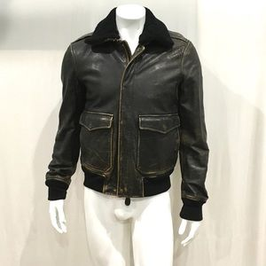 Burberry Brit Mens Brown Shearling Leather Jacket